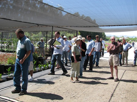 Ron Farland of Plants Plus Nursery in Somis (with microphone) explains the layout of drainage channels and how they can accommodate container plants to absorb and reduce runoff.